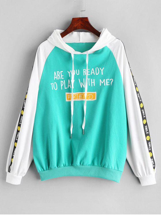 in stock hot sales half off Letter Print Drawstring Side Smile Hoodie MINT GREEN