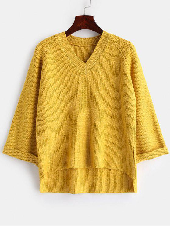 online Pullover V Neck High Low Sweater - YELLOW ONE SIZE
