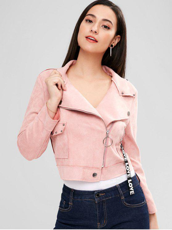 best Faux Suede Rivet Zipper Jacket - PINK M