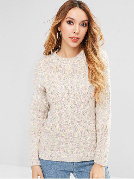 shop Cable Knit Panel Colorful Sweater - MULTI ONE SIZE