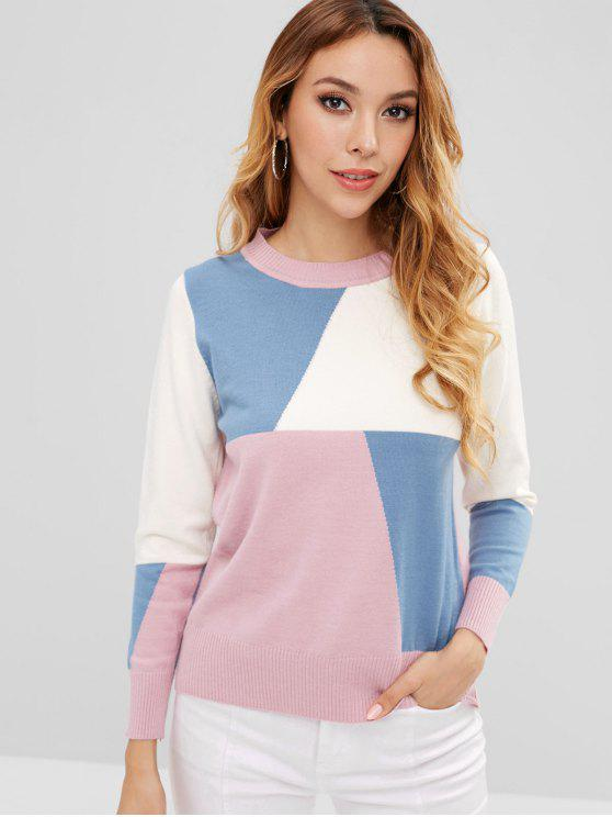 latest Color Block Pullover Sweater - MULTI ONE SIZE