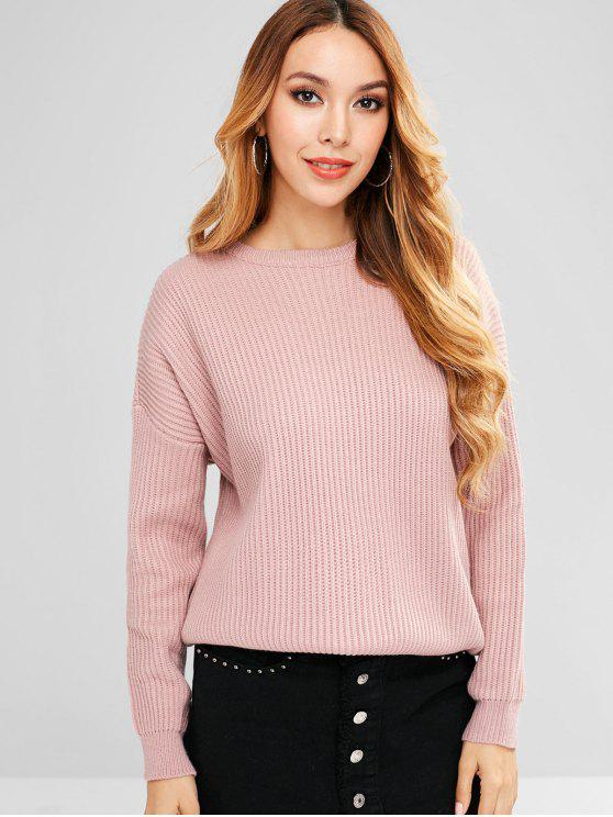 fancy Loose Plain Pullover Sweater - KHAKI ROSE ONE SIZE