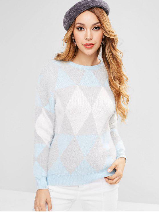 unique Rhombus Pattern Sweater - MULTI ONE SIZE