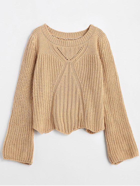 outfits Chunky Knit Flare Sleeve Sweater - LIGHT KHAKI ONE SIZE