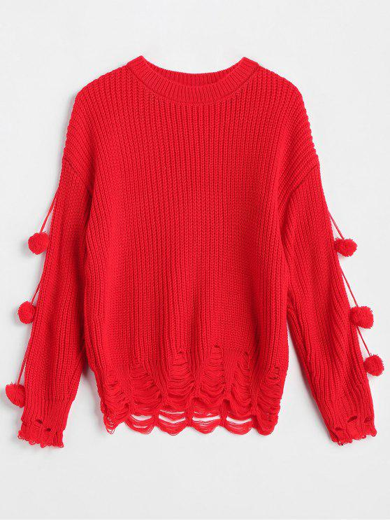 shop Drop Shoulder Pompom Ripped Sweater - RED ONE SIZE