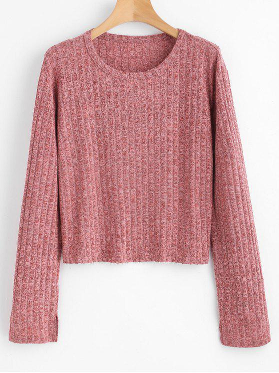 chic Ribbed Space Dyed Knit Top - PALE VIOLET RED ONE SIZE