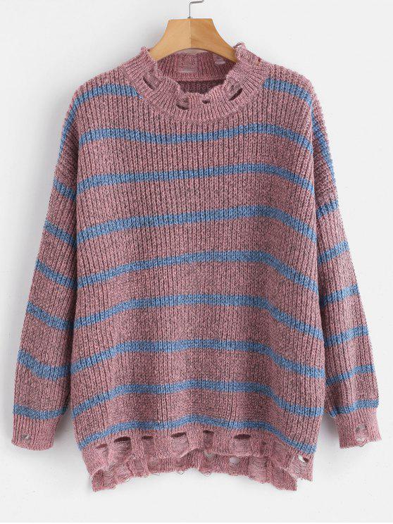 unique Distressed Striped Oversized Sweater - MULTI ONE SIZE