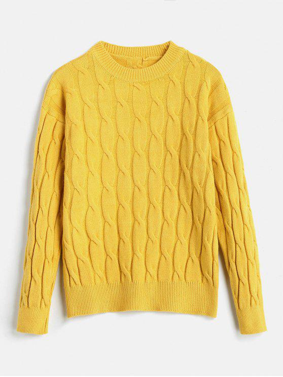 sale Cable Knitted Drop Shoulder Sweater - CORN YELLOW ONE SIZE