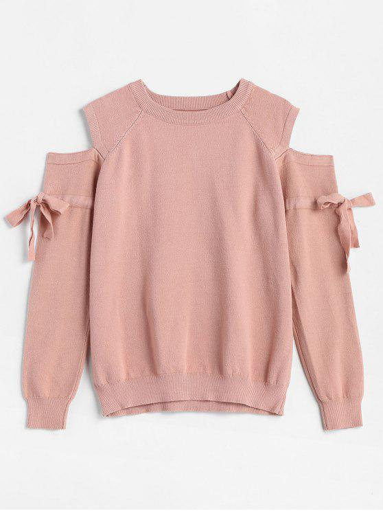outfits Round Neck Tied Sleeve Pullover Sweater - WATERMELON PINK ONE SIZE
