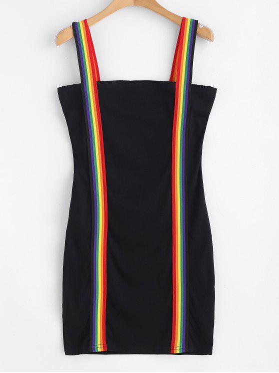 Mini Robe Moulante à Bretelle Rayée Arc-en-Ciel - Noir M