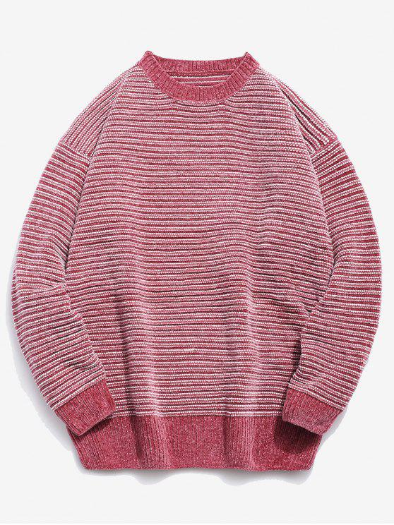 best Soft Striped Knit Sweater - PINK M