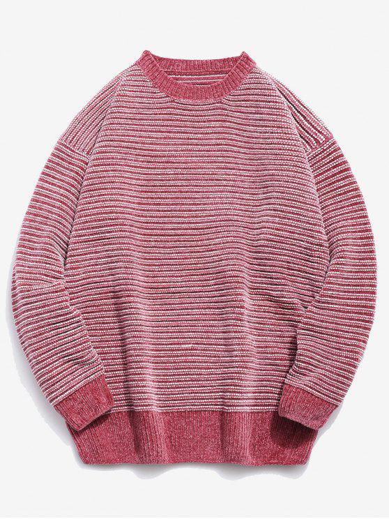 Camisola de malha listrada macia - Rosa XL