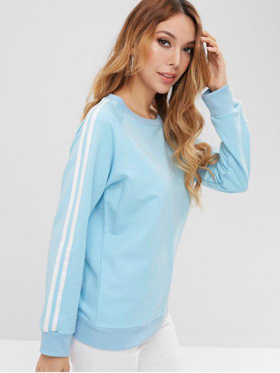 women's ZAFUL Raglan Sleeve Striped Panel Sweatshirt - ROBIN EGG BLUE L