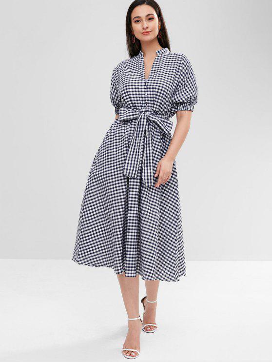 sale Mid Calf Plaid Dress - MULTI S
