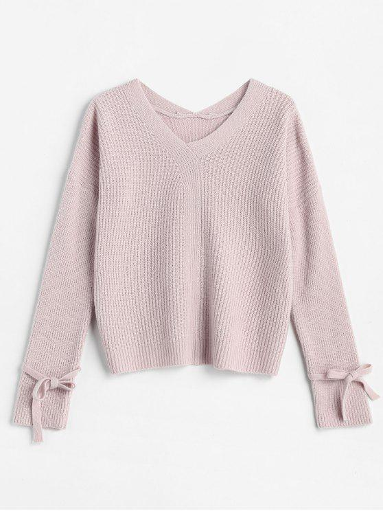 outfits Drop Shoulder Tied Textured Sweater - LIGHT PINK ONE SIZE