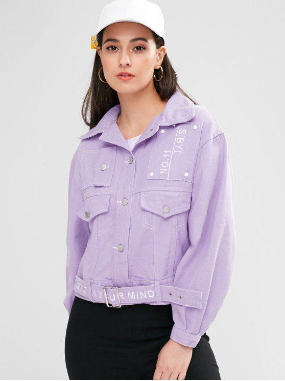 hot Letter Embroidered Button Up Jacket - MAUVE L