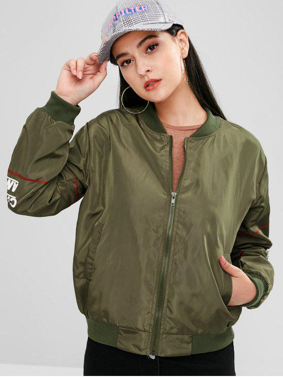 shop Letter Print Zip Flight Jacket - ARMY GREEN M