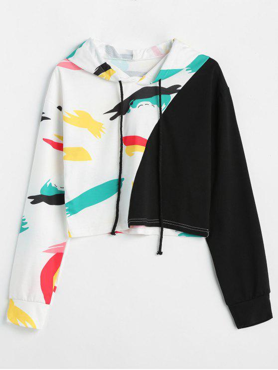 lady Contrast Graphic Crop Hoodie - MULTI XL