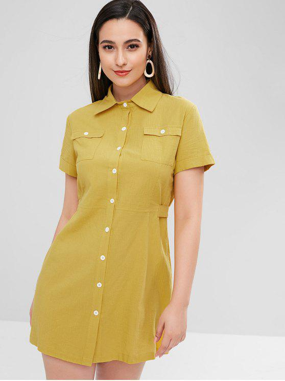 chic ZAFUL Button Down Pockets Shirt Dress - BRIGHT YELLOW S