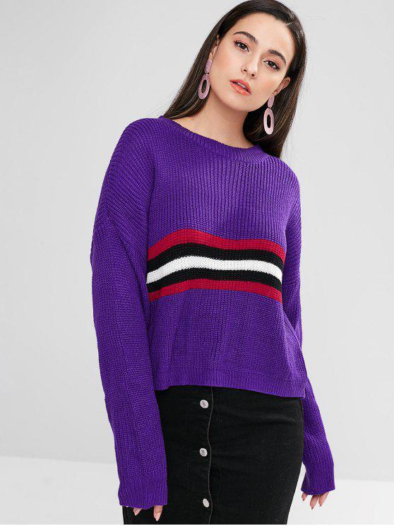 fancy ZAFUL Drop Shoulder Striped Boxy Sweater - PURPLE IRIS M