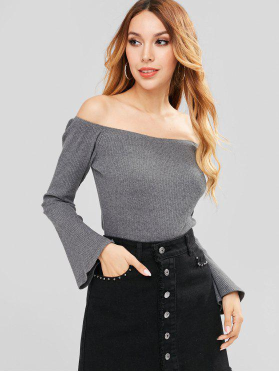 c35f096e7e512f 29% OFF  2019 ZAFUL Ribbed Bell Sleeve Off Shoulder Top In SMOKEY ...