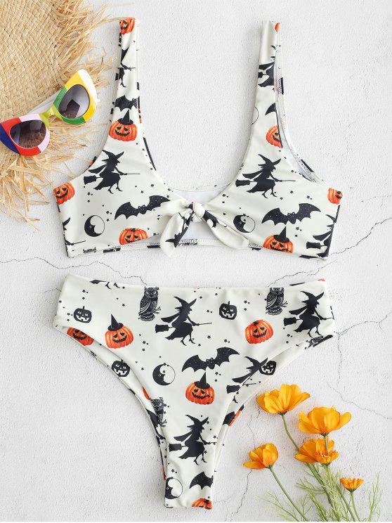 ZAFUL Halloween Knotted Bat Kürbis-Bikini-Set - Beige S