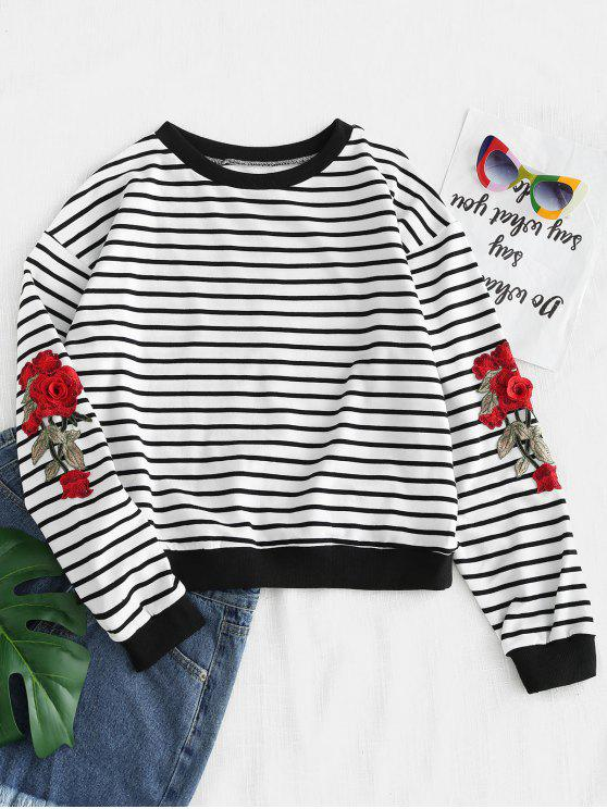 new ZAFUL Stripes Embroidered Patched Sweatshirt - WHITE ONE SIZE