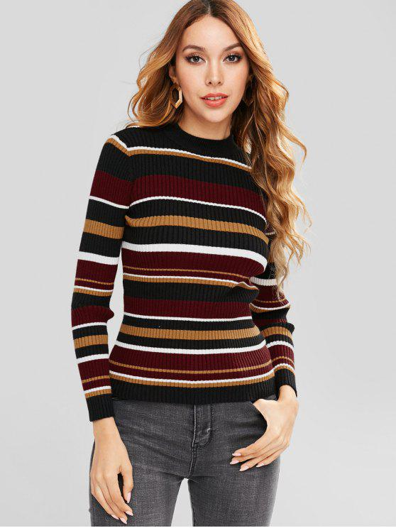 fashion ZAFUL Striped Color Block Jumper - MULTI ONE SIZE