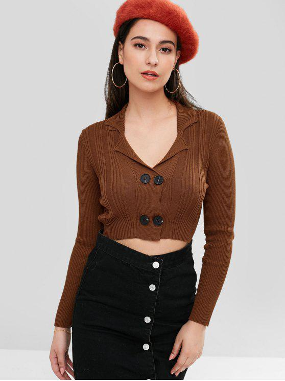 buy ZAFUL Double-Breasted Crop Cardigan - BROWN ONE SIZE