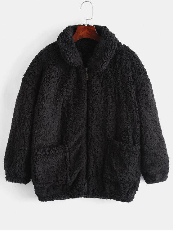 womens Fluffy Faux Fur Winter Teddy Coat - BLACK XL