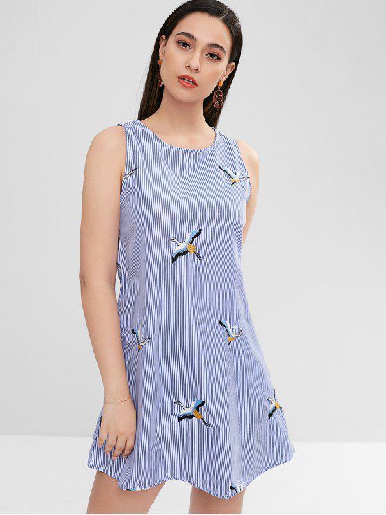 shop ZAFUL Side Pockets Embroidered Striped Flare Dress - SKY BLUE M
