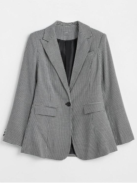 women's ZAFUL Padded Shoulder One Button Houndstooth Blazer - MULTI S