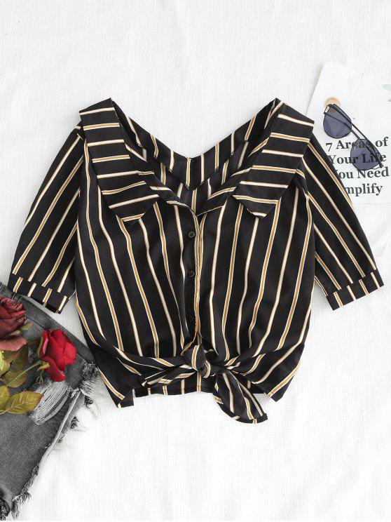 طية على طول التعادل قميص مقلم الجبهة عارضة - أسود M