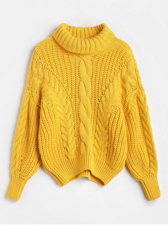 affordable Turtleneck Chunky Cable Knitted Sweater - BRIGHT YELLOW ONE SIZE