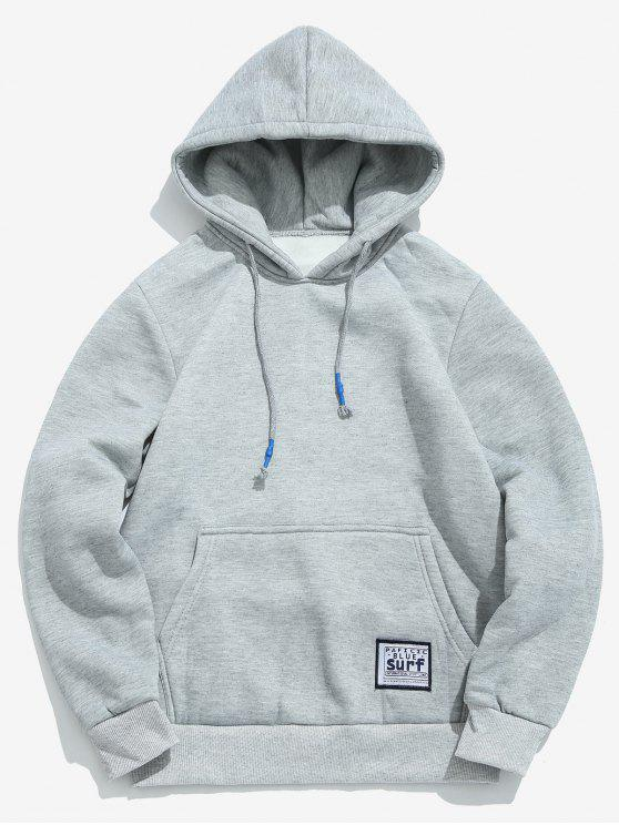 outfit Solid Pouch Pocket Fleece Hoodie - LIGHT GRAY XL