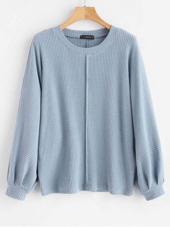 women Balloon Sleeve Dolman Sweater - BLUE GRAY M