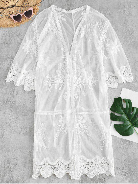 fancy See Thru Crochet Panel Cover Up - WHITE ONE SIZE