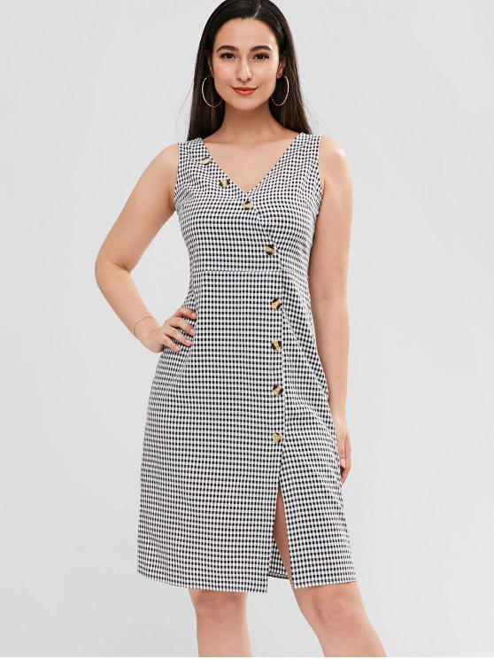 women ZAFUL Diagonal Button Through Gingham Midi Dress - MULTI L