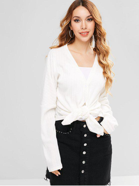 affordable ZAFUL Ribbed Button Through V Neck Cardigan - WHITE L