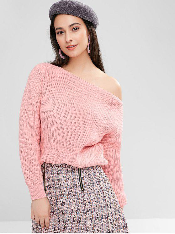 lady ZAFUL Relaxed Slash Neck Sweater - LIGHT PINK S