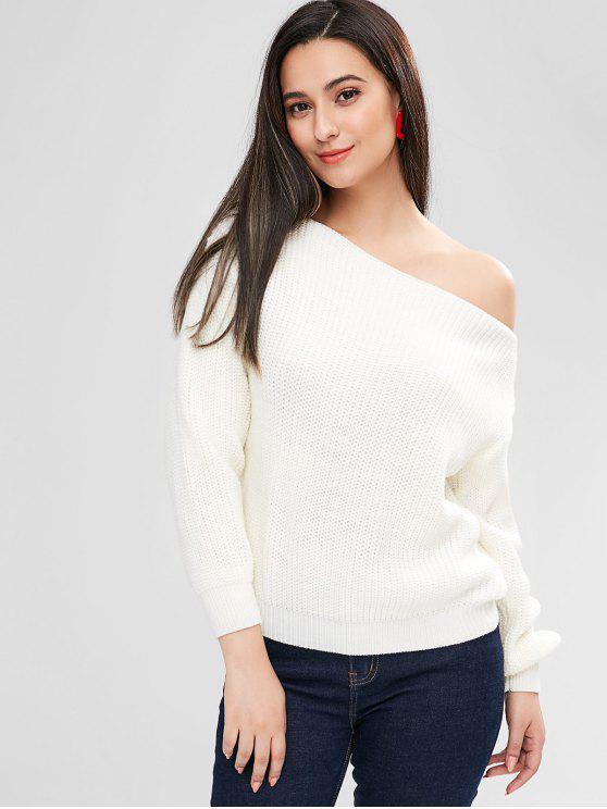 best ZAFUL Relaxed Slash Neck Sweater - WHITE L