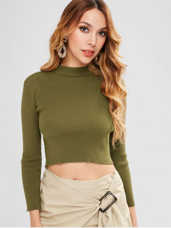outfit ZAFUL Ribbed Crop Knitwear - ARMY GREEN M