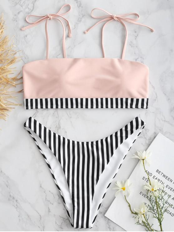 unique ZAFUL  Tie Shoulder Striped High Cut Bikini - ORANGE PINK L