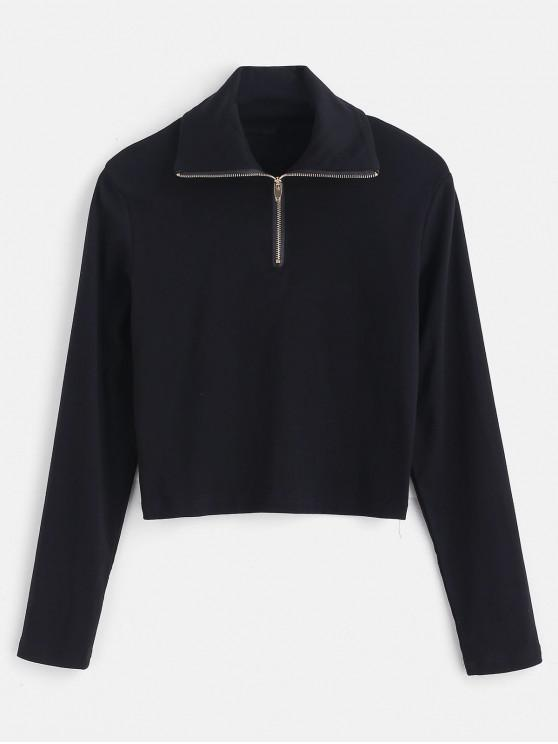 latest Long Sleeve Quarter Zip Cropped Tee - BLACK S