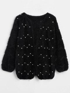 Solid Color Beaded Fleece Cardigan - Black