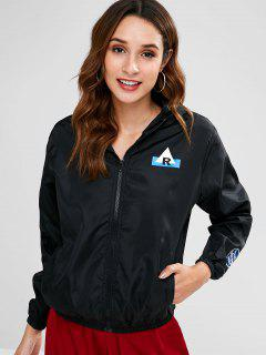Patched Graphic Windbreaker Jacket - Black L