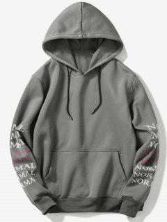 Sleeve Letters Pocket Fleece Hoodie - Dark Gray M