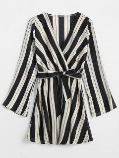 V Neck Striped Belted Dress - Black L