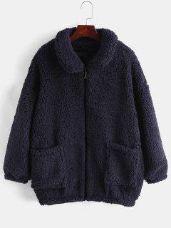 Fluffy Faux Fur Winter Coat - Cadetblue Xl