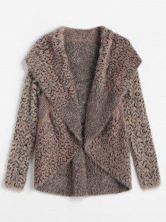 Flower Pattern Fleece Cape Cardigan - Multi